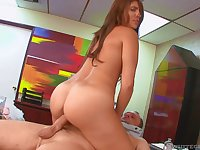 Slutty cocksucking secretary rides the boss